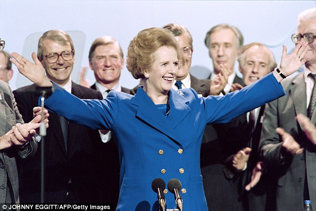 Mrs Thatcher acknowledges the applause at the end of the Conservative Party conference in Blackpool