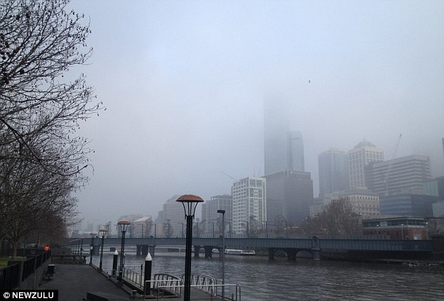 Disruption: Melbourne's skyline has been covered in a thick blanket of fog on and off for weeks. On August 16 this picture was taken, with visibility reported at just 150m in some areas