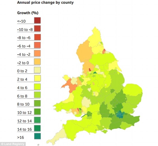 Regional disparity: While house prices are surging in some parts of London, prices are still falling in some regions