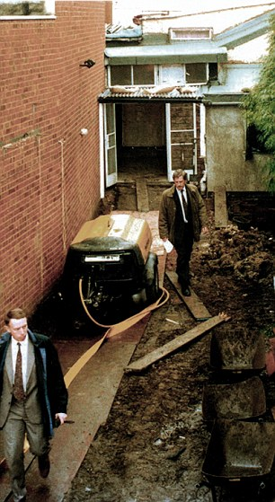 House of horrors: The police dig up the garden at 25, Cromwell Street during the 1994 investigation