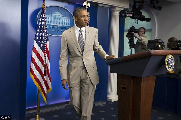 Defense: White HousePress Secretary Josh Earnest revealed today that the president 'feels pretty good' about his 'summer suit' choice