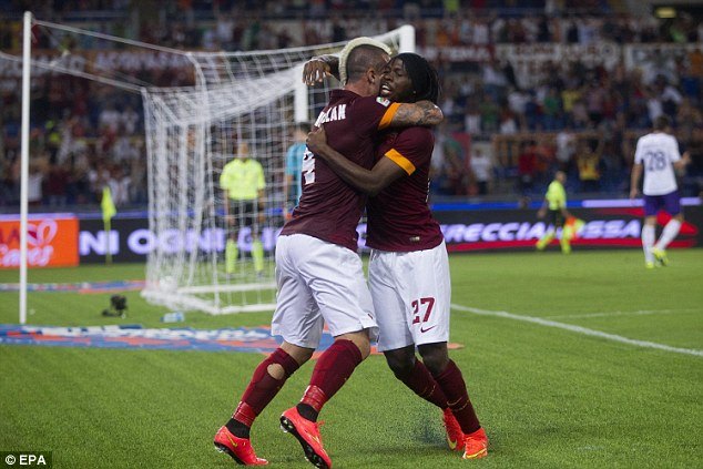 Victory: Radja Nainggolan scored the only goal of the game in the 1-0 win at the Stadio Olimpico