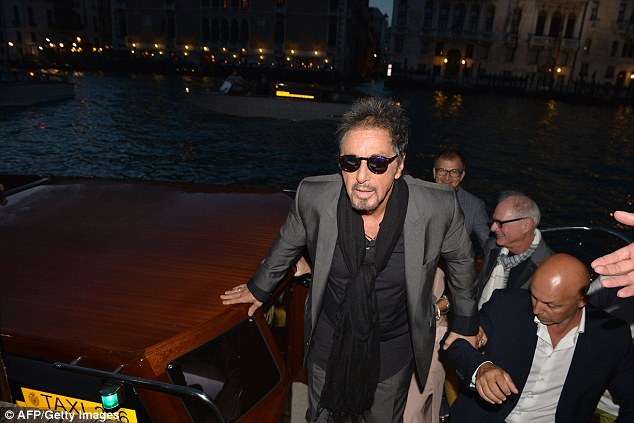 Grand entrance: Al arrived at the gala via a taxi boat