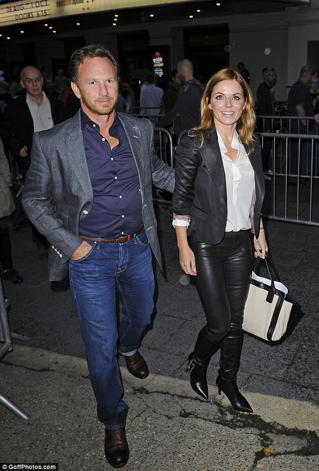 Loved up: Geri Halliwell and her Formula 1 team boss boyfriend Christian Horner attend the Kate Bush concert at London's Hammersmith Apollo on Friday