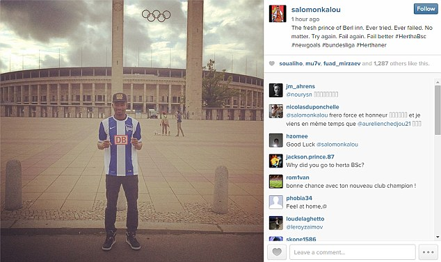 Announcement: Kalou took to his Instagram to announce the move to Berlin