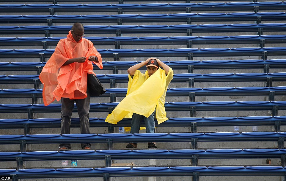 Gutted: Matches started again in the evening once the rain ceased but ticket holders for the Arthur Ashe Stadium were forced to leave, according to reports