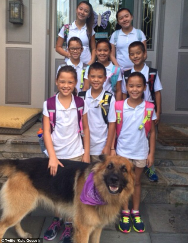 Back to school: Kate Gosselin shared a back to school photo of her eight children on Twitter