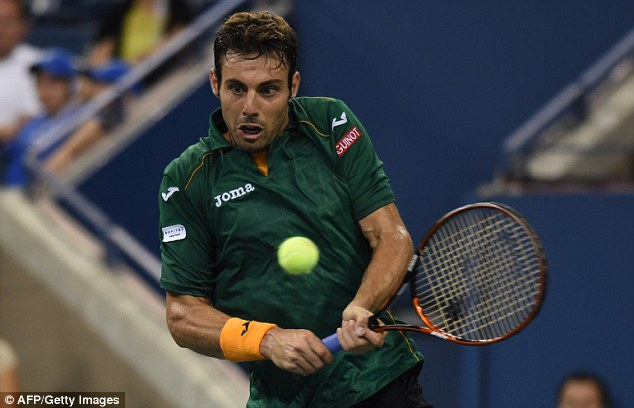 Out: Granollers started impressively but ultimately succumbed to Federer's skills and lost three sets all 6-1