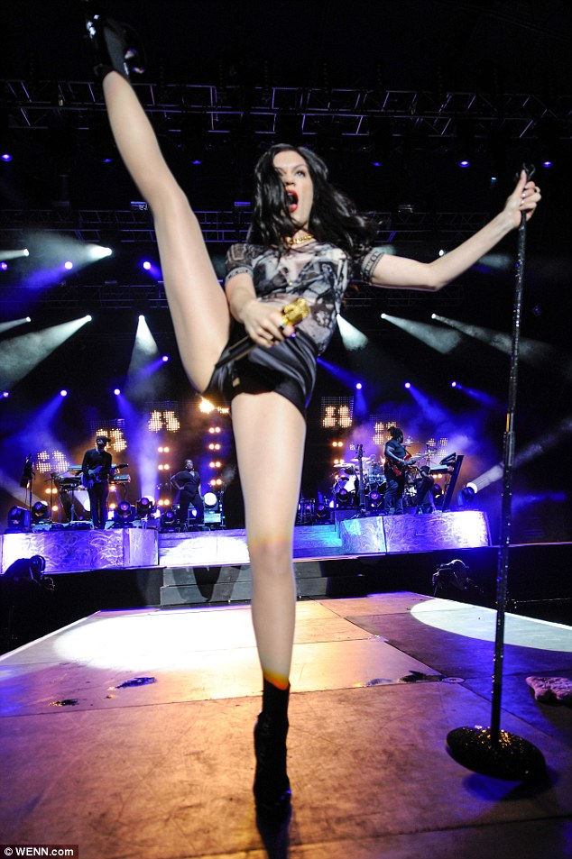 Kicking off: Jessie J performed at the Fusion Festival at Birmingham's Cofton Park on Sunday