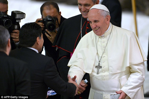 Hand of God: Diego Maradona meets with Pope Francis at the Vatican