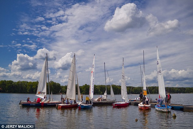 Water enthusiasts flock to the Lake Slawskie - the focal point of the town and its increasing tourist industry
