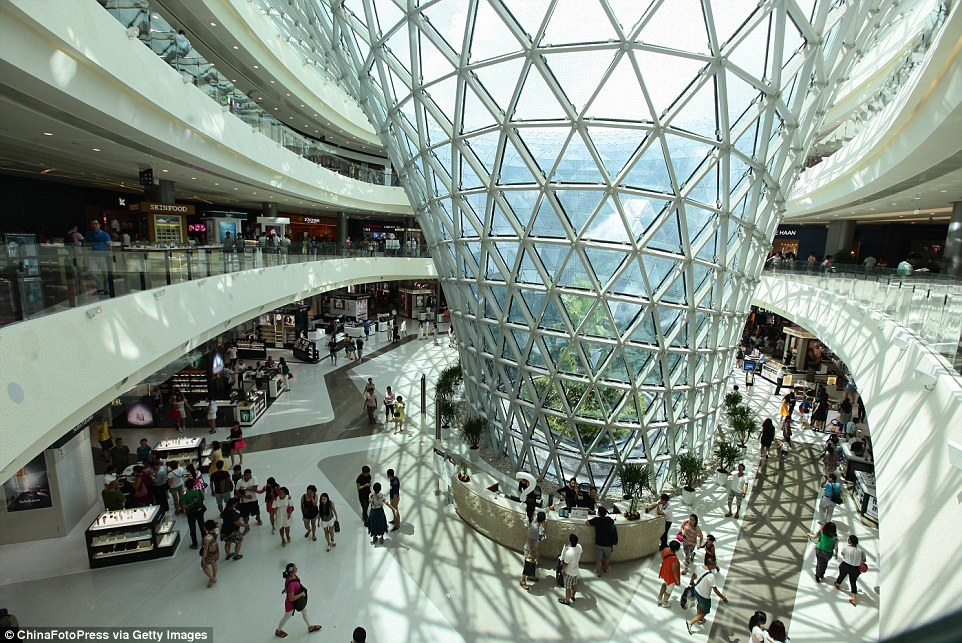 Impressive: The Haitang Bay duty free shopping centre is the largest in the world at nearly one million square feet