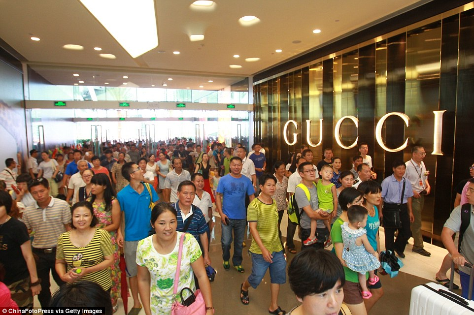 Opening day: Thousands of shoppers flocked to the shopping centre when it opened its doors on Monday