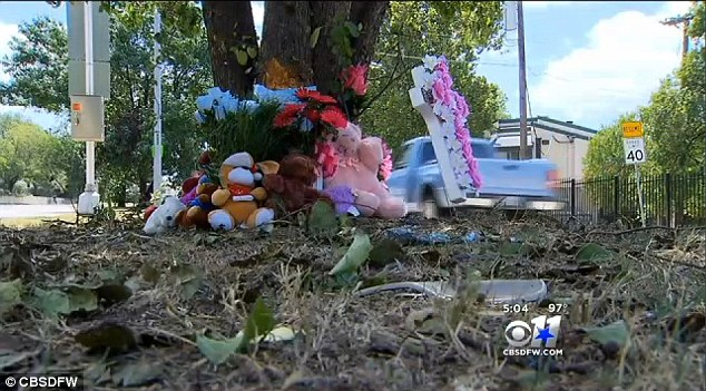 Mourning: A memorial to victims of the crash on Bonnie View Road in Dallas