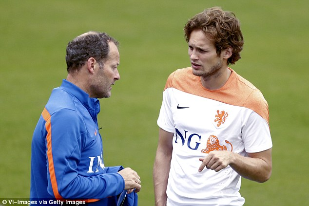 D Blind leading D Blind: The Holland coach (left) talks to his son during a training session