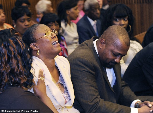 Emotional: Monica McBride, the mother of the victim, is pictured crying during the guilty verdict last month