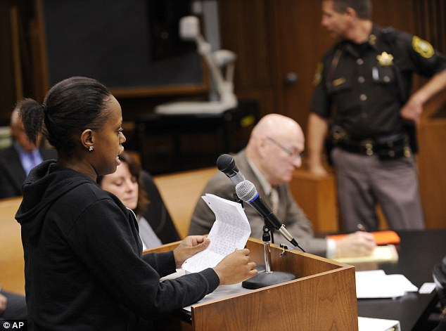 Sadness: Jasmine McBride, 23, the sister of 19-year-old victim Renisha, McBride reads an impact statement before the court during the sentencing on Wednesday. Wafer apologized to the family in court