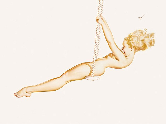 In this 1941 painting a pretty pin-up girl sits nude on a swing