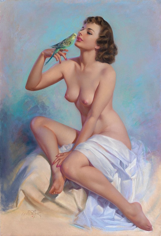 Bearing a strong resemblance to a Renaisance nude, this model sits with material draped over her lap while she gazes at the colourful bird on her finger