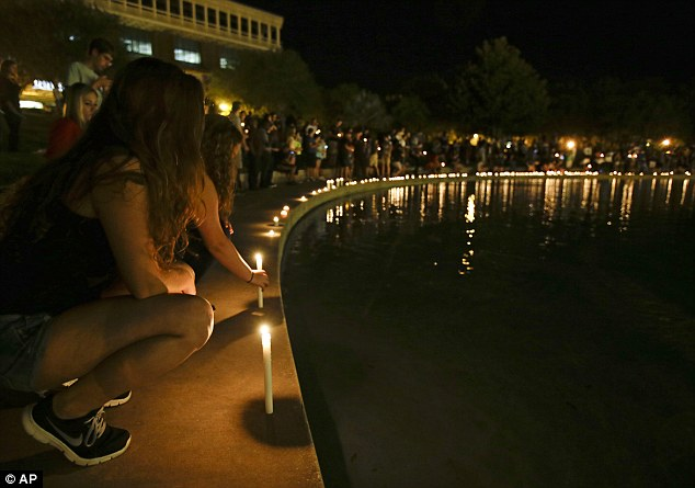 The vigil for Steven Sotloff was held beside the Reflection Pool at the centre of the UCF campus