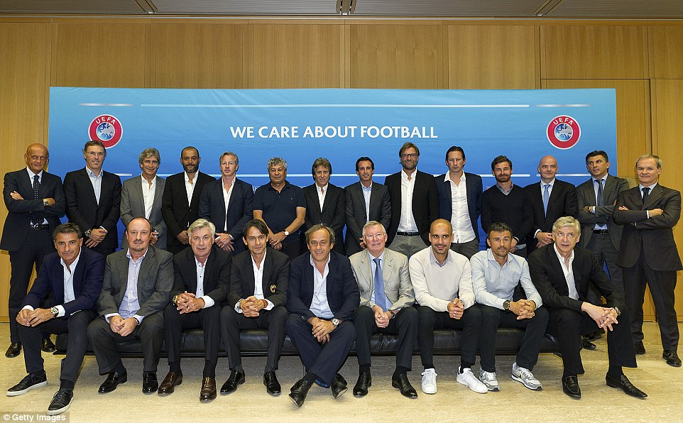 Team photo: A host of Europe's elite coaches gathered at UEFA's headquarters in Switzerland (including Pep Guardiola and Luis Enrique in spanking white trainers)