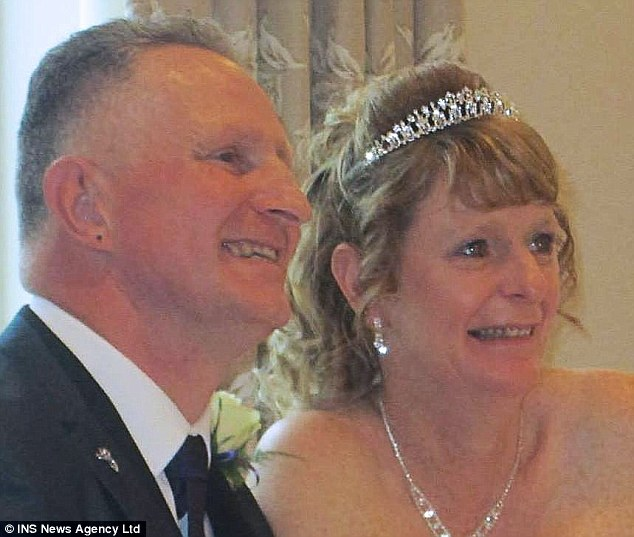 Mrs Davis, right, with her husband Pete, left, married in May on what the family described as 'a joyful occasion'