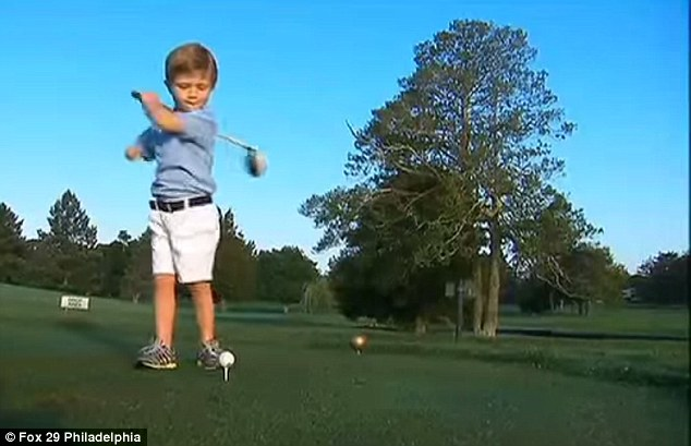The next Tiger Woods: He started watching golf on TV at just 13 months old, and then at 18 months old, he began mimicking the players he observed