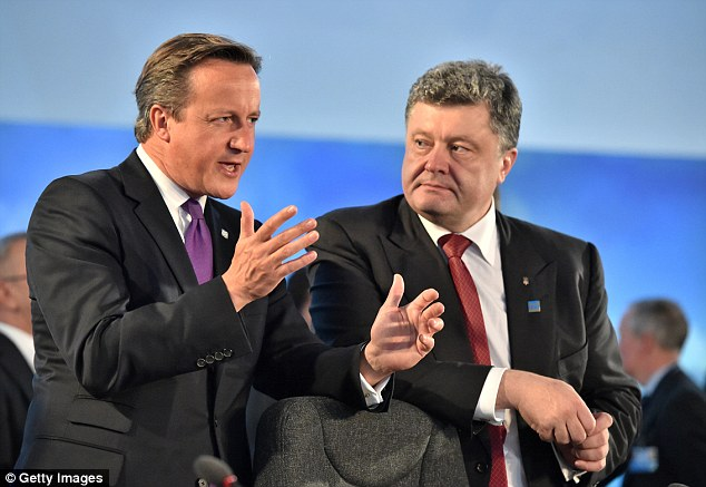 The Prime Minister spoke with Ukrainian President Petro Poroshenko during a working session at the Nato summit at Celtic Manor Hotel