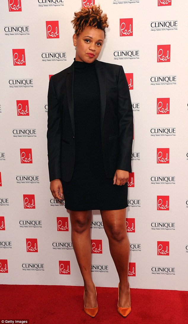 Understated chic: Radio DJ Gemma Cairney went for a sombre black dress and suit jacket combo