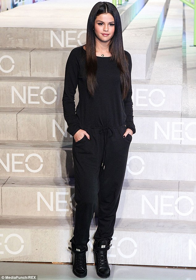 Nice colour scheme: Selena Gomez went chic in an all-black ensemble to host the NEO For Adidas fashion show in NY on Wednesday