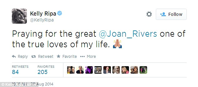 Sending good vibes: The chat show host is one of many who worry about Joan Rivers who remains hospitalised and in a coma