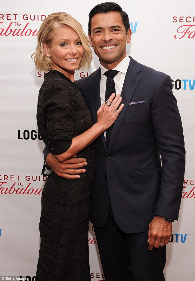 She's with him: The Live With Kelly And Michael co-host got cosy with her husband of 12 years at Wednesday's bash that was held at Crosby Hotel in NY