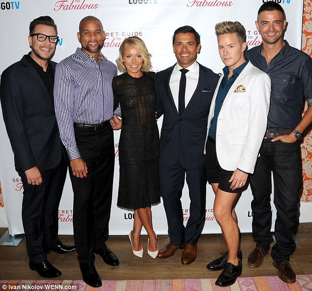 Daring: Kelly Ripa showed off her figure in a see-through dress at the Secret Guide To Fabulous premiere in NY with Mark Consuelos and style experts Rob Younkers, Shaun T, Theodore Leaf and John Gidding