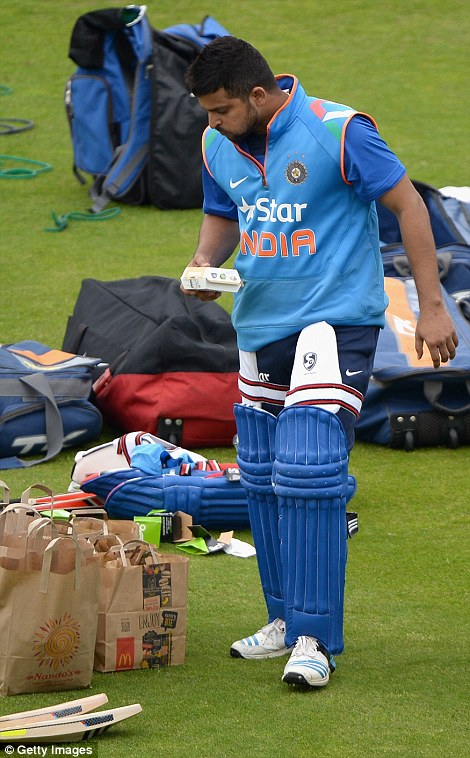 Burger king: Edgbaston hero Suresh Raina has a Quarter Pounder