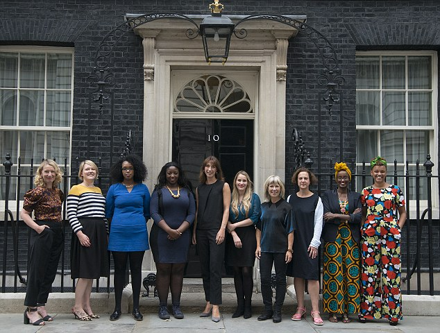Winners: The Red Women of the Year pose for a photo with Samantha Cameron outside number 10 Downing Street in London