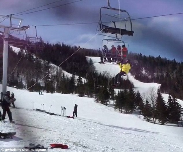 Evacuation: Three people were taken to hospital after the King Pine lift began operating in reverse at Sugarloaf Mountain Resort in Carrabassett Valley. Above, a skier is evacuated from the lift after it stopped