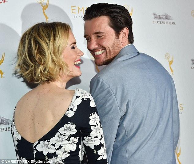 Sarah paulson and jason butler harner attend tv academy 39 s for Ray donovan white dress shirt brand