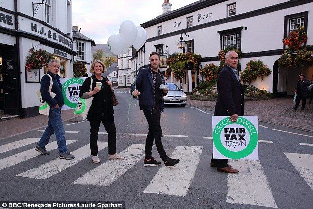 Shopkeepers from Crickhowell are taking the town offshore in protest of the taxes paid by multinationals