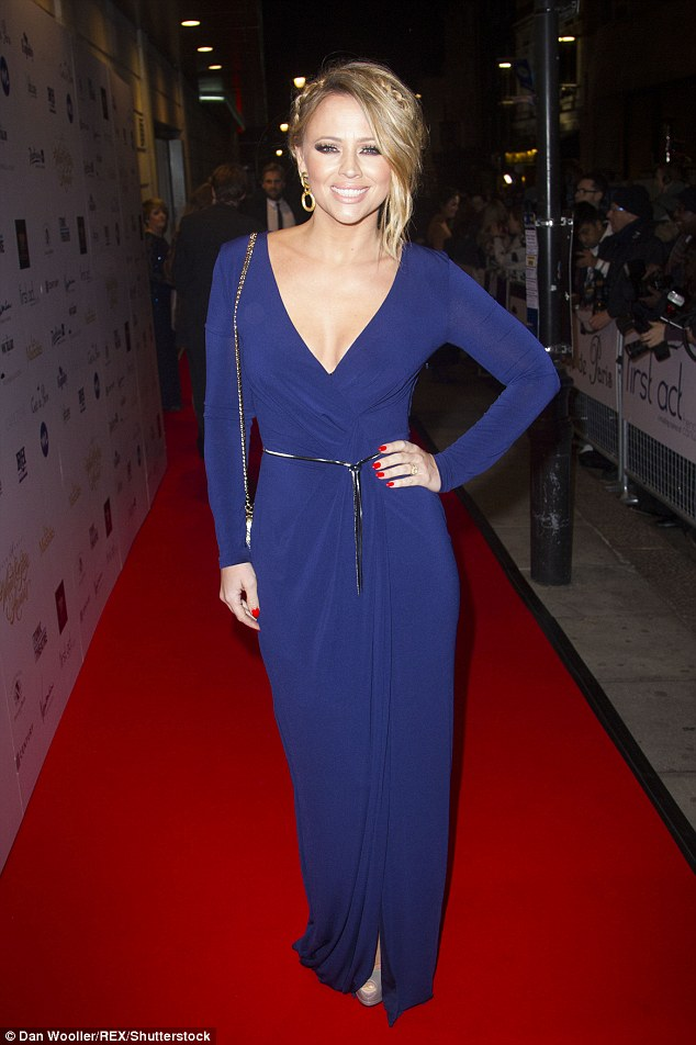 Kimberley Walsh In Very Sexy Plunging Blue Gown At Theatre