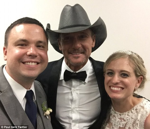 Off the registry: Last month Paul Getz and Lisa White were treated to a surprise performance by Tim at their Philadelphia wedding