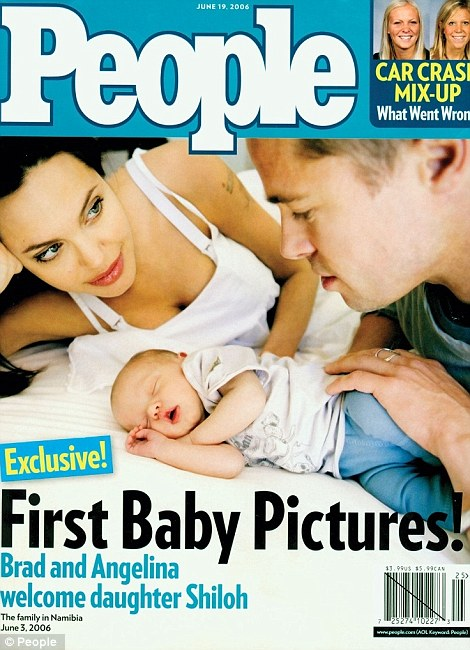 Charitable stars: Brad and Angelina shared the first photos of the twins (L) for an alleged $14million and donated the money to charity, as they had also done after welcoming Shiloh (R)