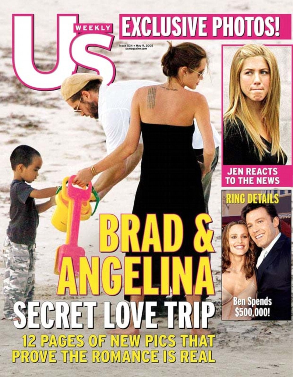 Caught: The first photo of the pair as a couple was published in April 2005, showing them with son Maddox in Kenya (above)