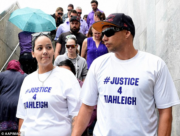 Cindy Palmer, the motherof murdered schoolgirl Tiahleigh Palmer,arrived at a Queensland court on Wednesday ahead of Thorburn's court appearance