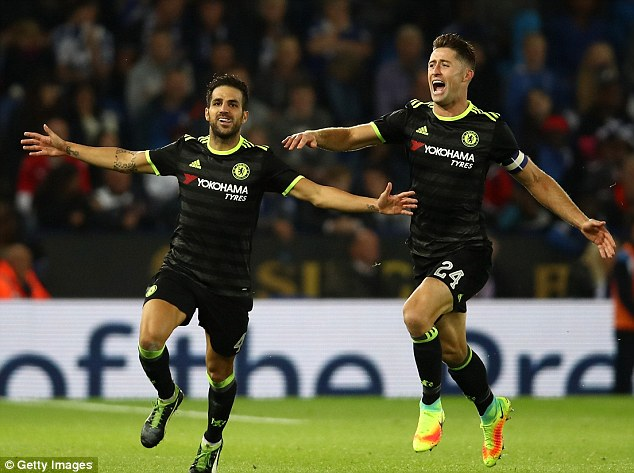 Cesc Fabregas (left) scored a brace in extra-time to secure the win for Conte's team