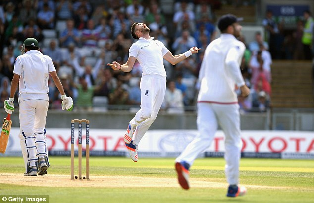 Anderson, pictured taking a wicket against Pakistan this summer, is sixth in the list of all-time Test wicket takers