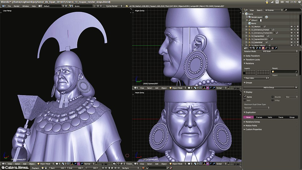Using 3D graphics to add the luxury ornaments, clothing and artifacts to put the Lord of Sipán into historical context