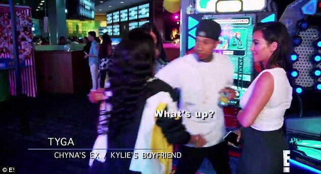 Not the best:The one armed embrace is rather awkward, with the model mustering a 'hey' and Tyga managing a 'what up'