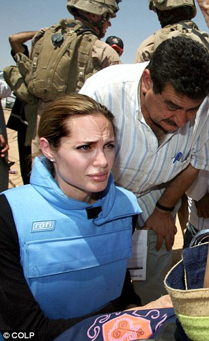 Angelina in a flak jacket in iraq
