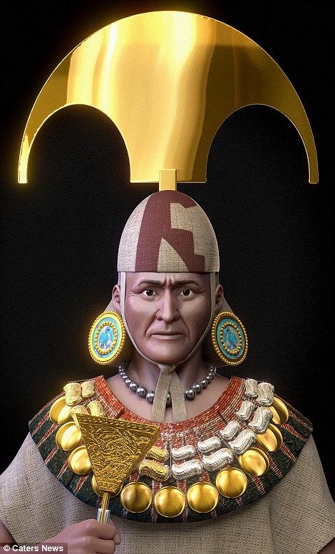 The realistic face of the Lord of Sipán is finally revealed dressed in his royal finery