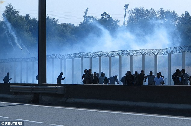 Migrants flee as French riot police use tear gas, close to the ferry terminal in Calais today